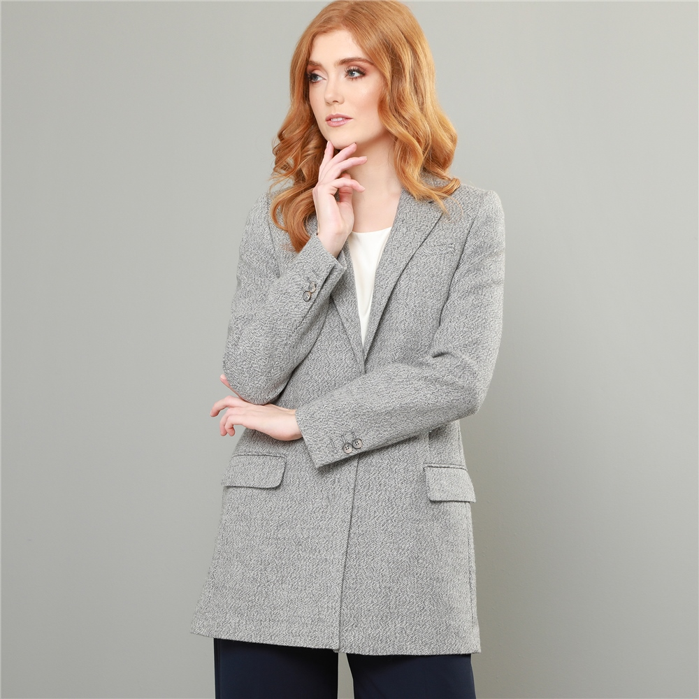 Vintage Coats & Jackets | Retro Coats and Jackets Magee 1866 Grey Moyne Herringbone Boyfriend Style Blazer £209.00 AT vintagedancer.com