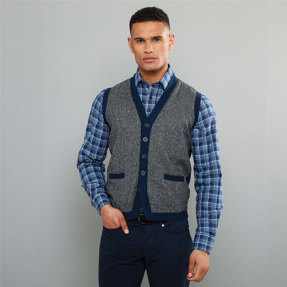 Men's Vintage Sweaters – 1920s to 1960s Retro Jumpers Magee 1866 Navy Darney Donegal Tweed Knitted Waistcoat �107.50 AT vintagedancer.com
