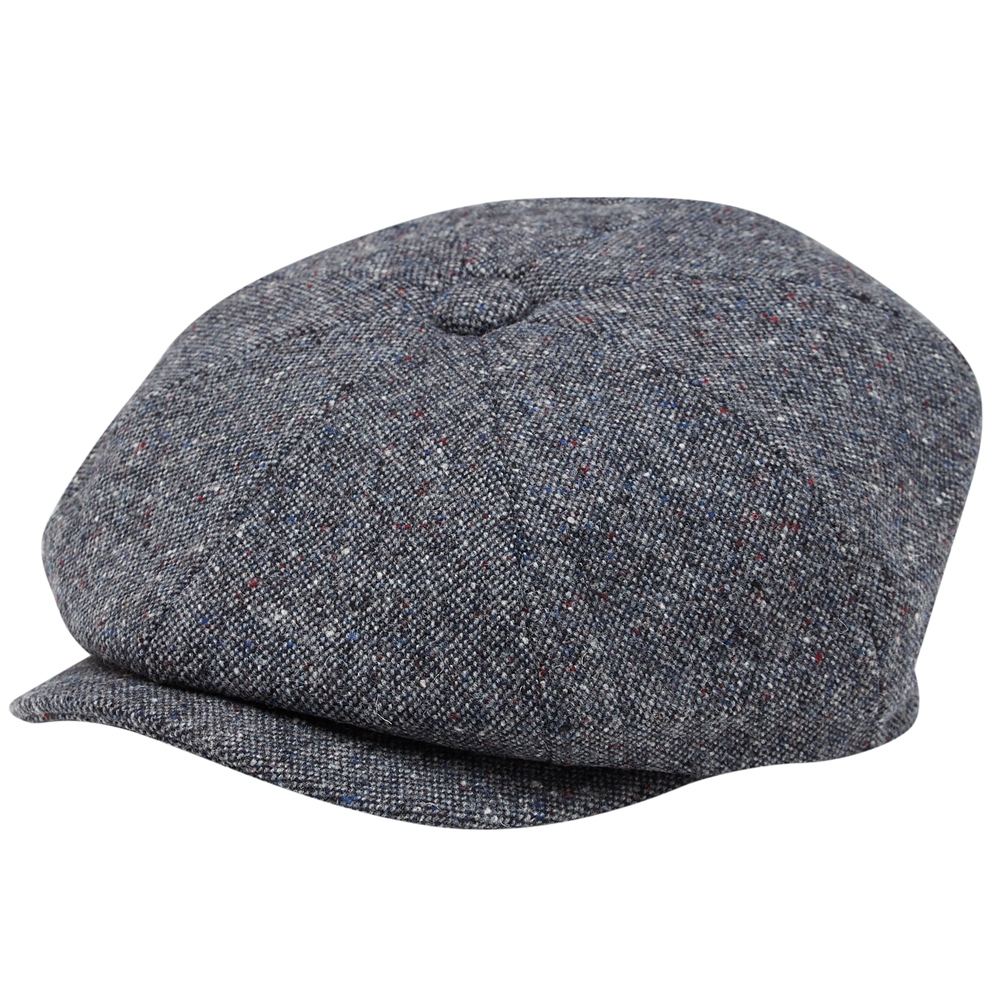 1920s Mens Hats & Caps | Gatsby, Peaky Blinders, Gangster Magee 1866 Grey Salt  Pepper Donegal Tweed Baker Cap £65.00 AT vintagedancer.com