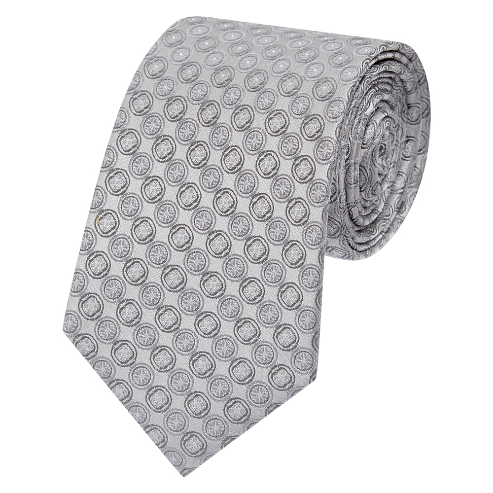 Grey Circles Geometric Woven Silk Tie 1