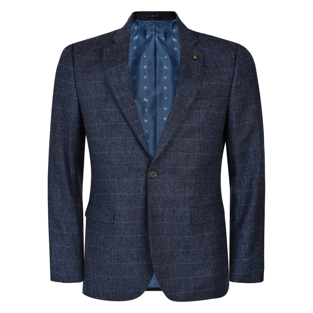 e135dcb6f Magee 1866 - Navy-Blue Check Tweed 3-Piece Tailored Fit Suit ...