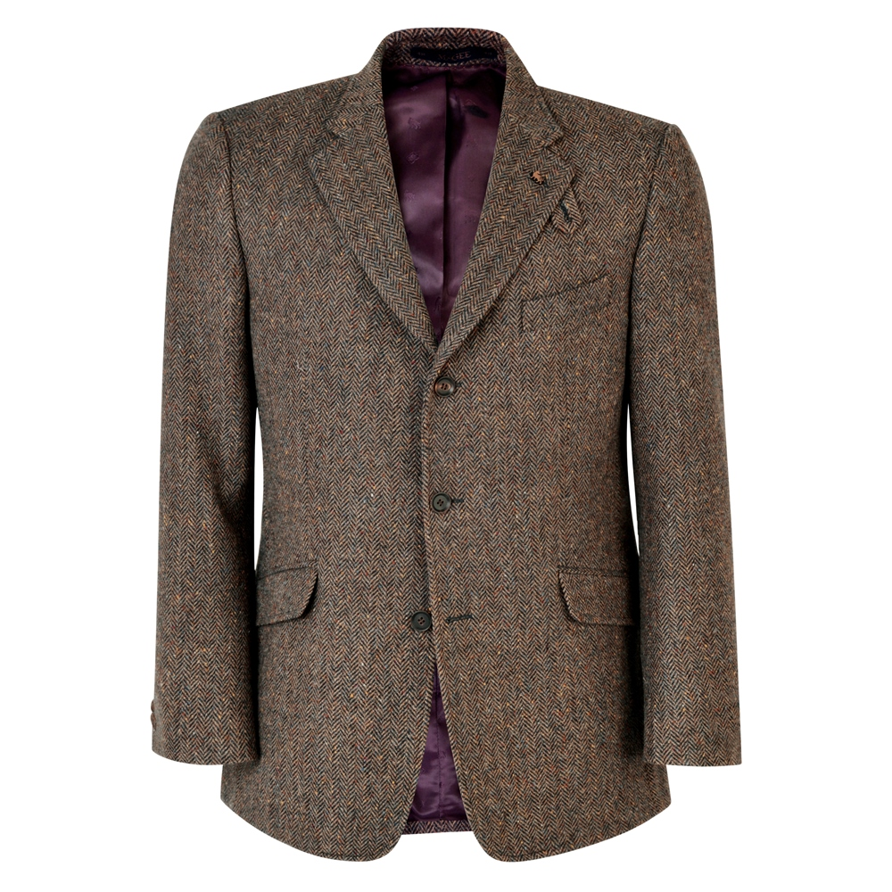 Men's Vintage Style Suits, Classic Suits Magee 1866 Brown Herringbone Lathkill Shooting Jacket £314.30 AT vintagedancer.com
