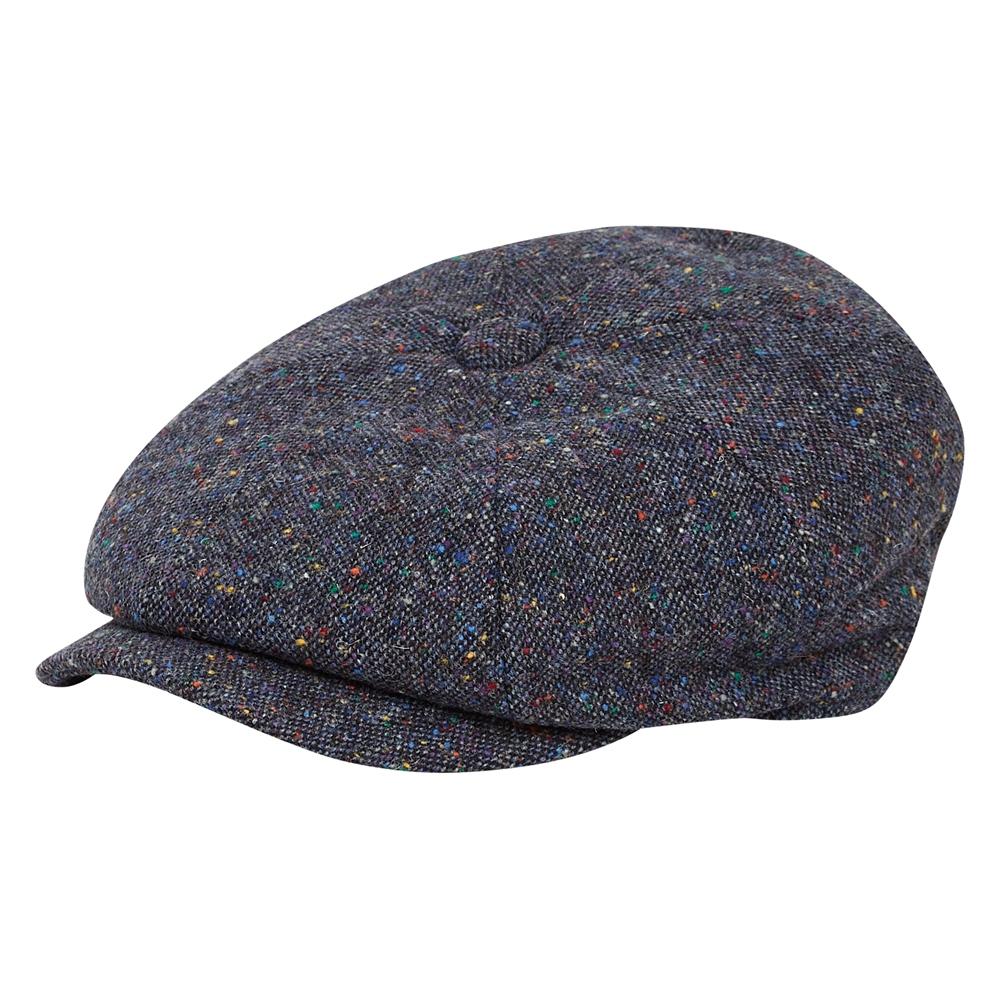 1920s Men's Hats – 8 Popular Styles Magee 1866 Navy Salt  Pepper Donegal Tweed Baker Cap £41.30 AT vintagedancer.com