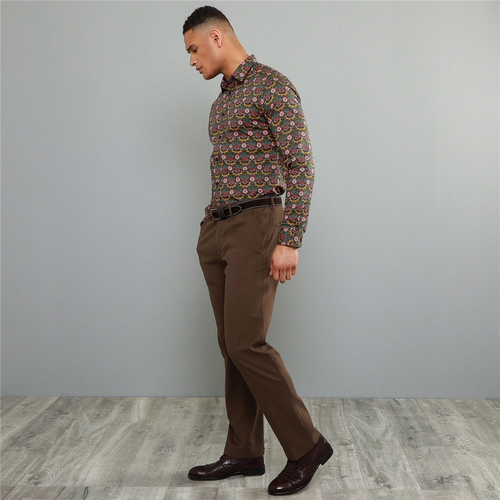 60s – 70s Mens Bell Bottom Jeans, Flares, Disco Pants Magee 1866 Brown Dungloe Mill-washed Look Classic Fit Trouser £125.00 AT vintagedancer.com