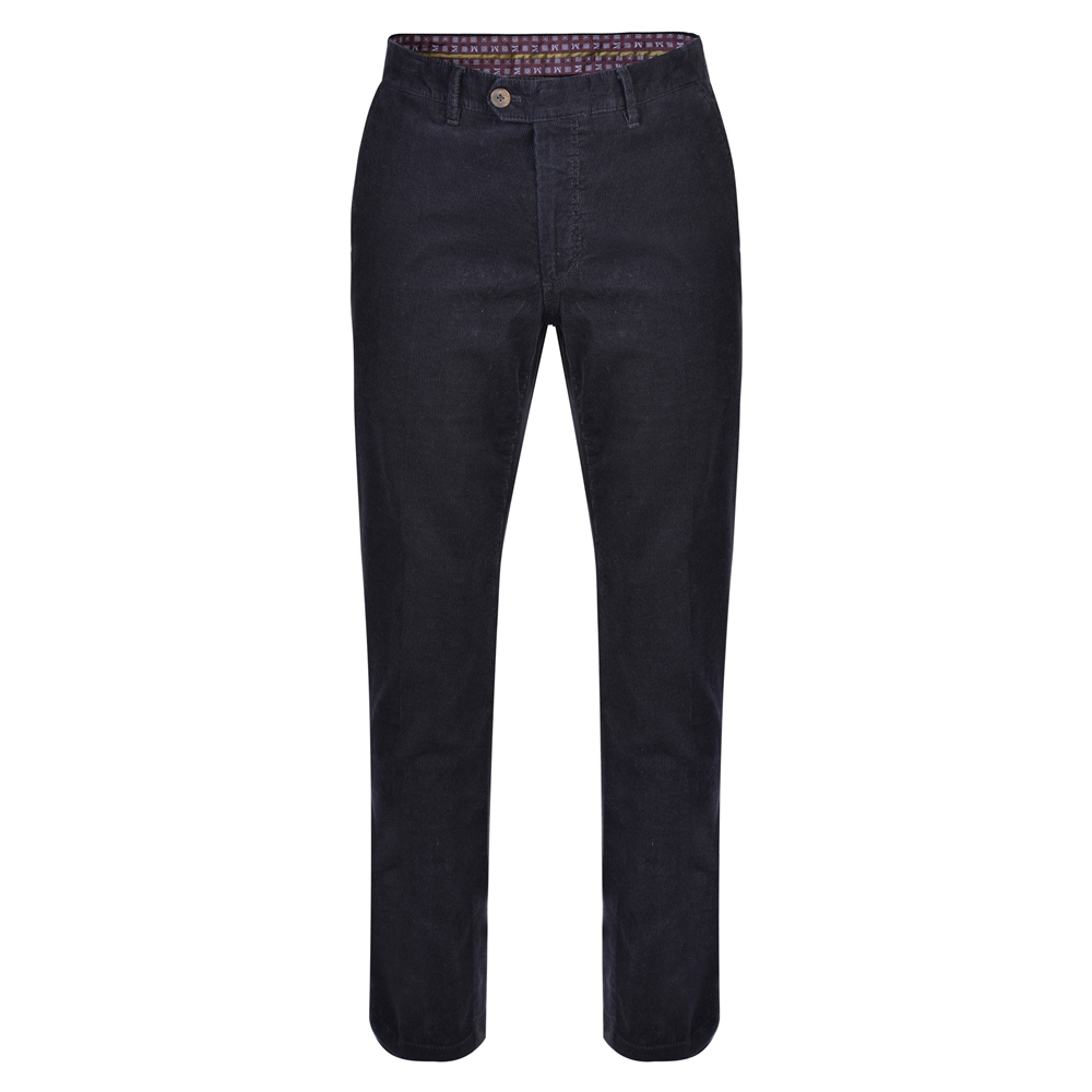 Navy Dungloe Needle Cord Classic Fit Trousers 1