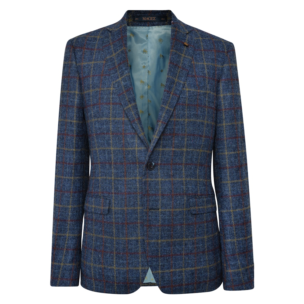 Navy Check Donegal Tweed Classic Fit Jacket 1