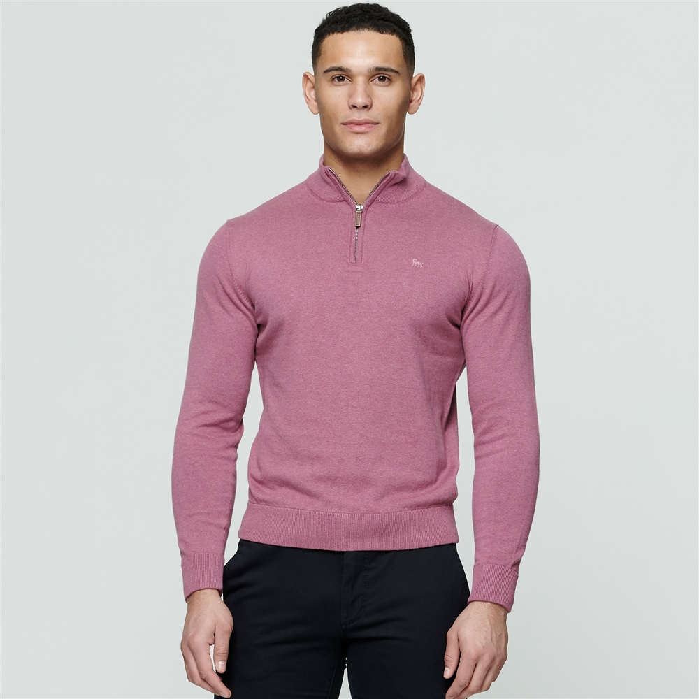 Pink Carn Cotton 1/4 Zip 1