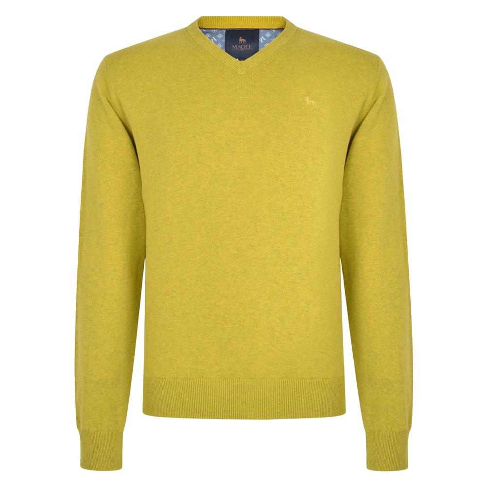 Men's Vintage Sweaters, Retro Jumpers 1920s to 1980s Magee 1866 Chartreuse Carn Cotton V Neck Jumper £45.00 AT vintagedancer.com