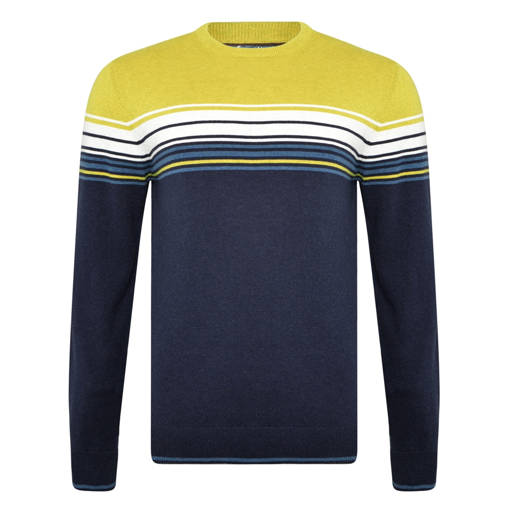 Navy & Chartreuse Termon Striped Cotton Crew Neck Jumper 1