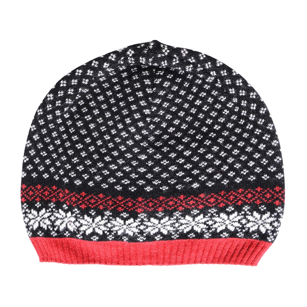 Cashmere Blend Beanie in Black, Red and White 1
