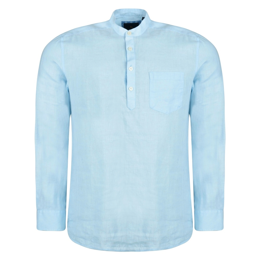 Baby Blue Corlea Washed Irish Linen Grandfather Classic Fit Shirt 1