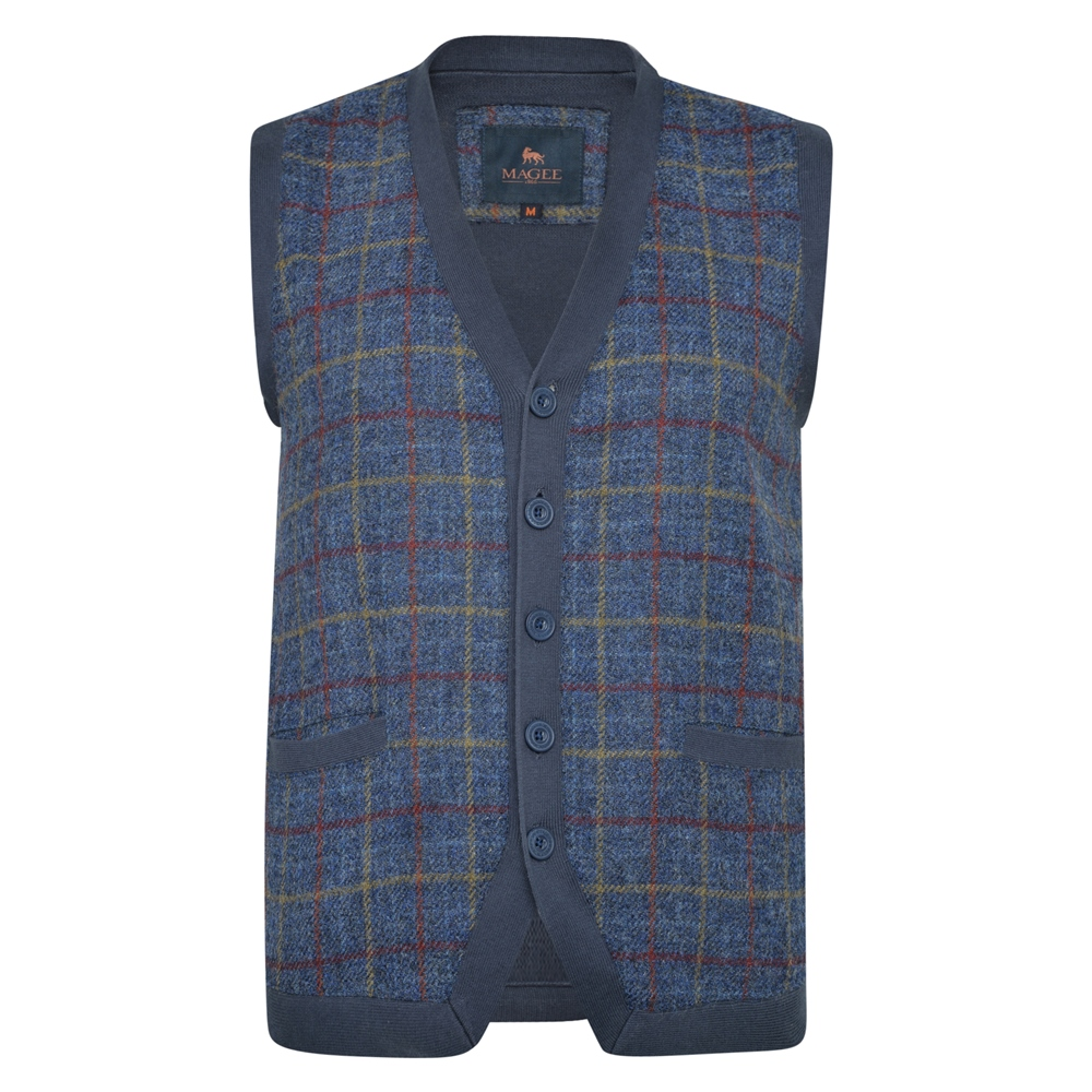 1930s Men's Clothing Magee 1866 Navy Darney Check Donegal Tweed Knitted Waistcoat £83.00 AT vintagedancer.com
