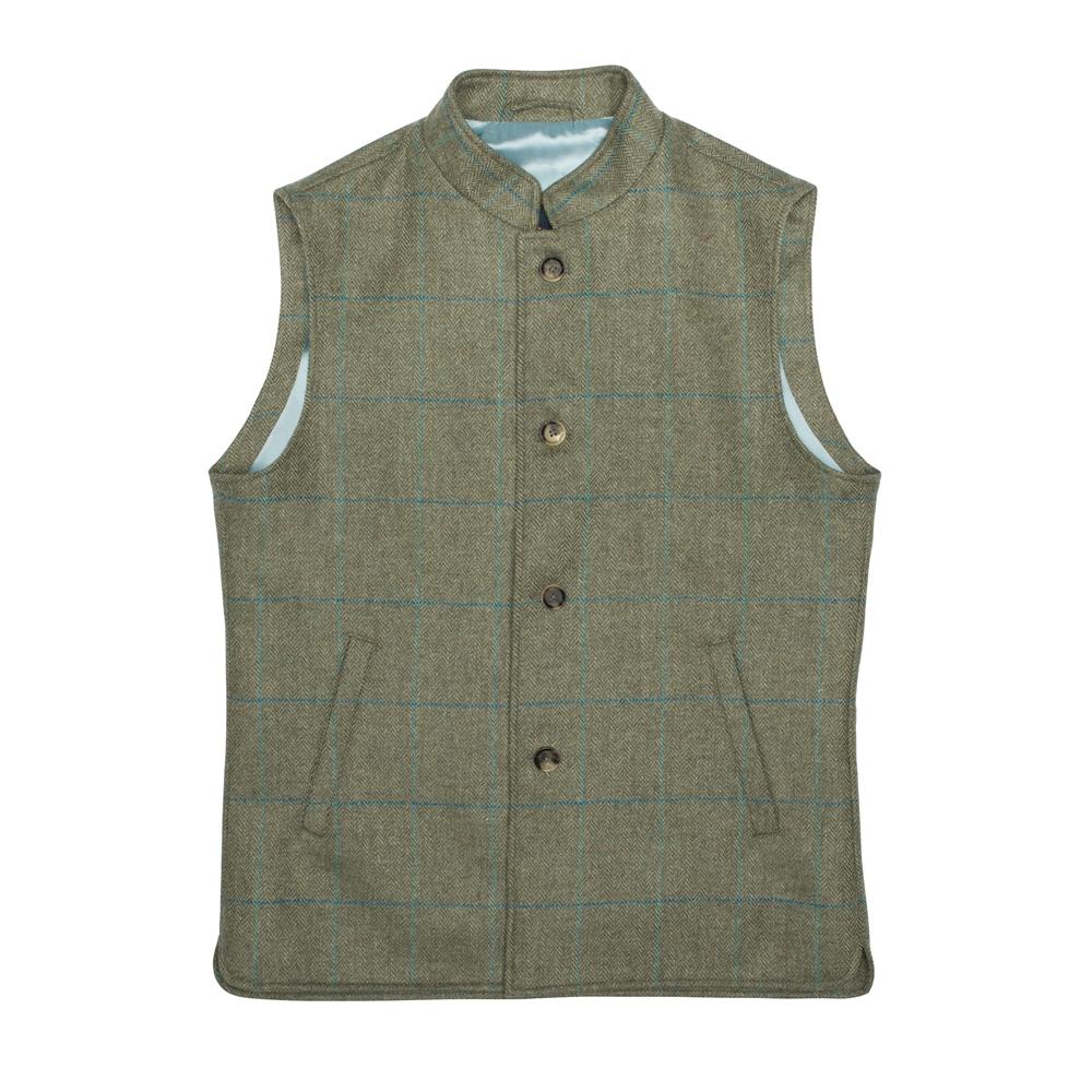 1920s Style Mens Vests Magee 1866 Green Cavan Donegal Tweed Check Gilet £123.00 AT vintagedancer.com