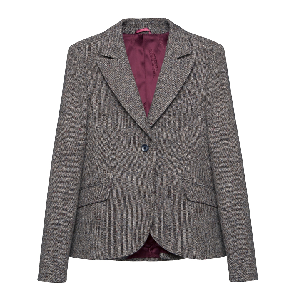 Lily Donegal Tweed Jacket in Navy Salt & Pepper 1