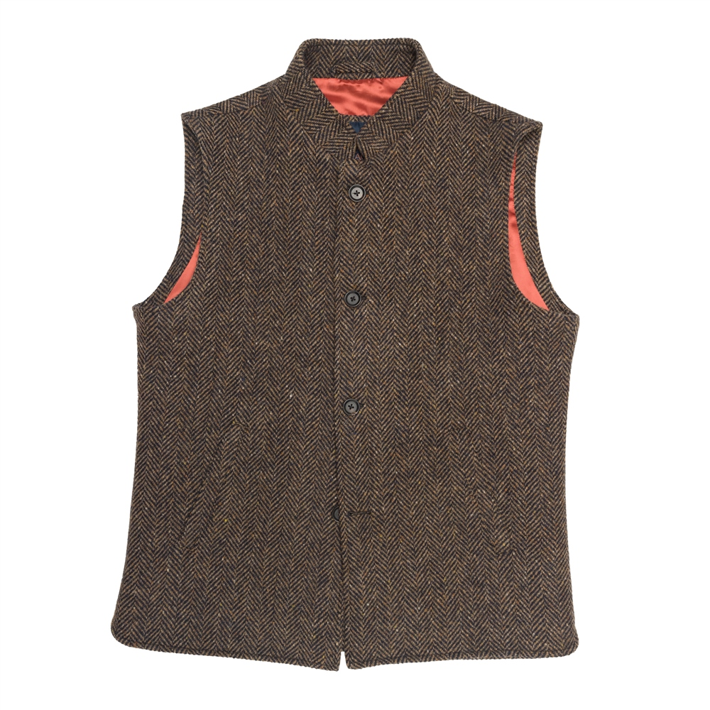 Cavan Donegal Tweed Gilet In Brown Herringbone 1