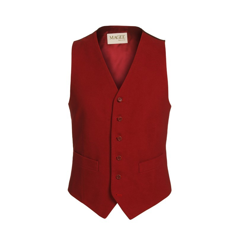 1930s Dresses, Shoes, Lingerie, Clothing UK Magee 1866 Red Moleskin Waistcoat £105.00 AT vintagedancer.com