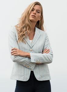 Blue Alicia Pinstripe Linen Blazer